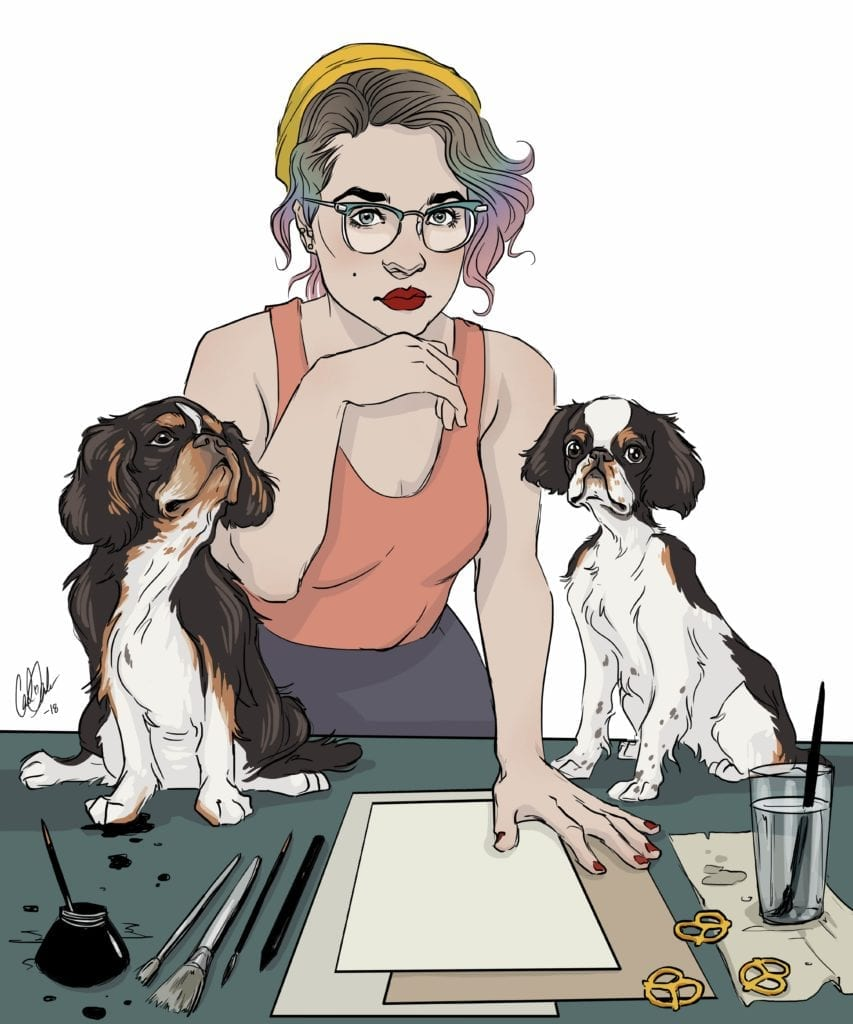 Illustration of Carli Ihde with two dogs and art desk