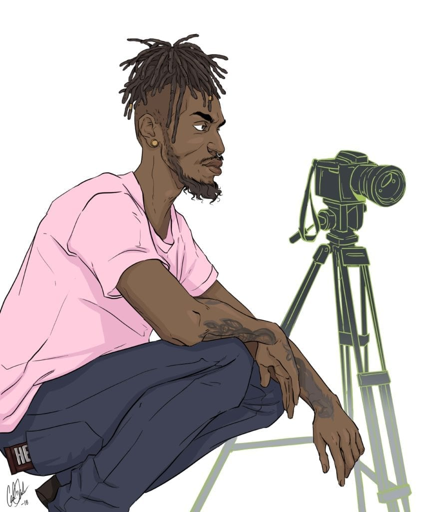 Illustration of Gabe with his camera.